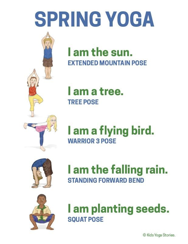 Illustrated spring yoga poses for stability